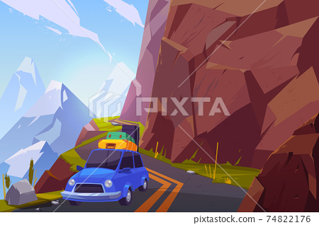 Traveling on car cartoon vector background 74822176