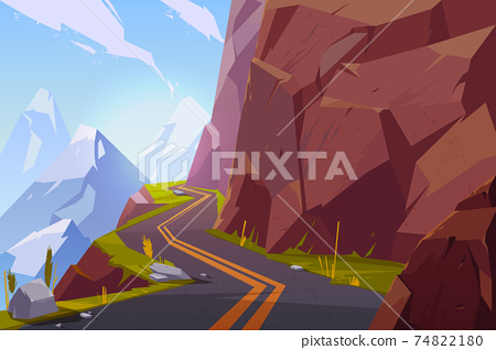 Mountain asphalt road, curly winding empty highway 74822180