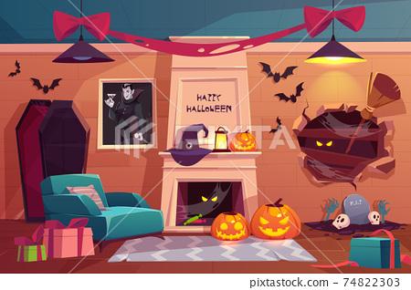 Halloween interior, empty scary vampire room. 74822303