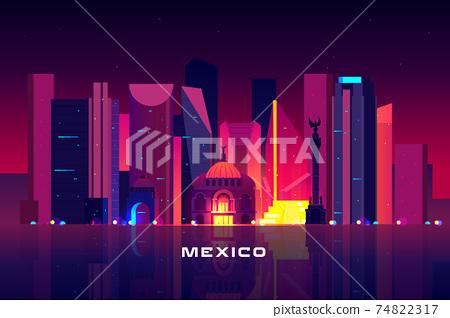 Mexico city skyline, neon lighting Night cityscape 74822317