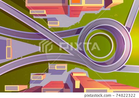 Top view transport interchange in city, empty road 74822322