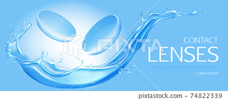 Contact lenses on water splash background banner 74822339