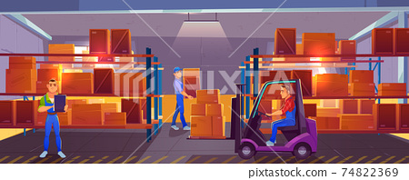 Logistics, warehouse interior with workers inside 74822369
