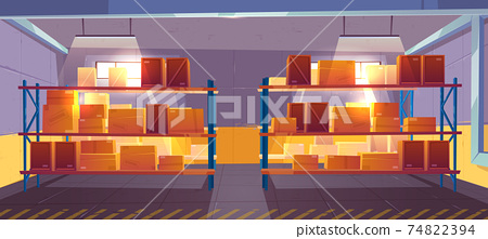 Inner view of warehouse interior, logistics, stock 74822394