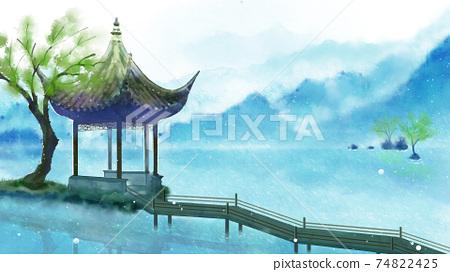 中國建築古風場景四季夏天 74822425