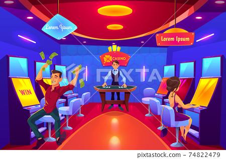 Casino clients in gambling hall cartoon vector 74822479