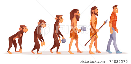 Human evolution stages cartoon vector concept 74822576