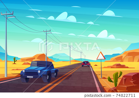 Desert landscape with highway and cars. Traveling. 74822711