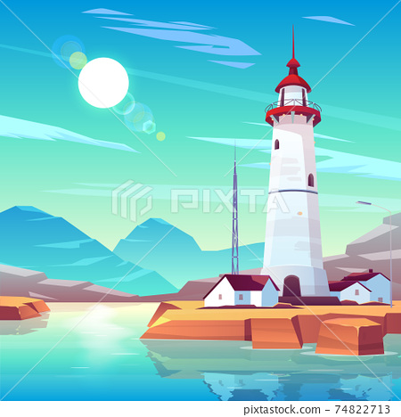 Lighthouse standing on rocky seashore at sunny day 74822713