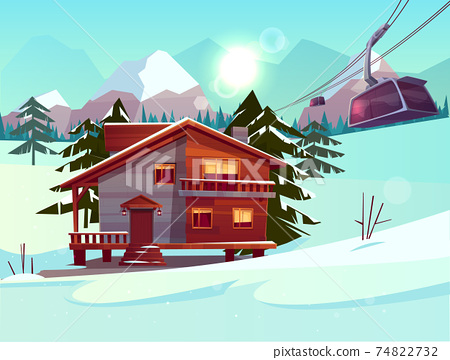 Ski resort with house and lifting funicular cabin 74822732
