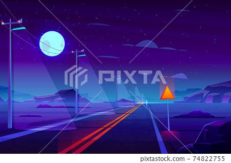 Empty highway in night dessert cartoon vector 74822755
