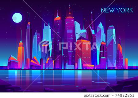 Night city futuristic landscape vector background 74822853