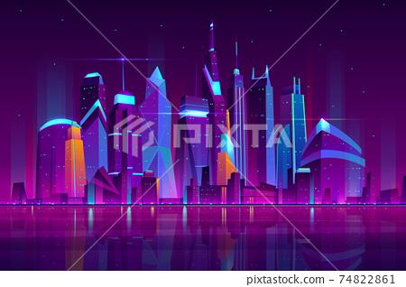 Night city futuristic landscape vector background 74822861