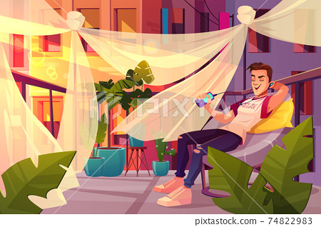 Man relaxing on cafe terrace cartoon vector 74822983