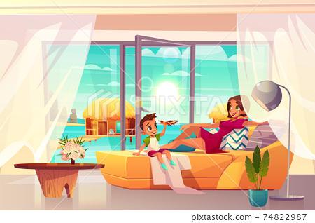 Resting in luxury hotel apartment cartoon vector 74822987