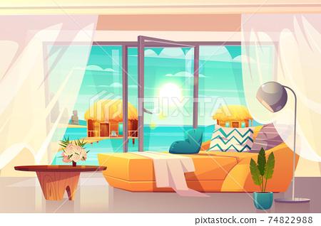 Tropical resort hotel room interior cartoon vector 74822988