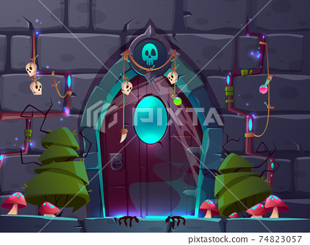 Game background with magic doors cartoon vector 74823057