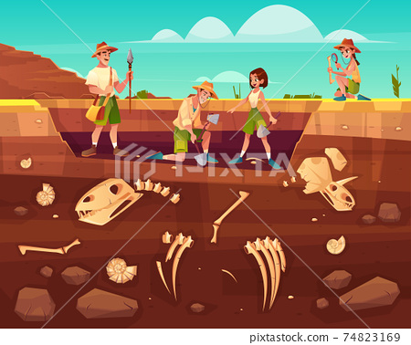 Scientists exploring fossils on excavations vector 74823169