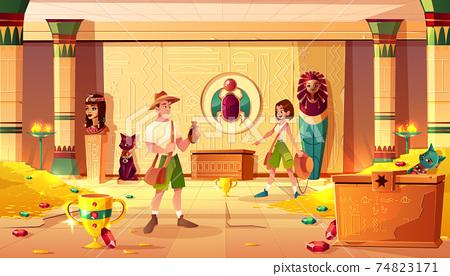 Treasure hunters in egypt pharaoh treasury vector 74823171