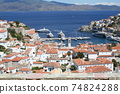 Harbor and streets of Hydra Island, Greece 74824288