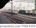 1970 Steam locomotive and Tokaido Line train Yokohama Tsurumi 74824293