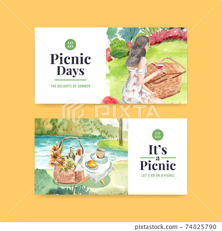 Twitter template with picnic travel concept design for social media and community watercolor illustration 74825790