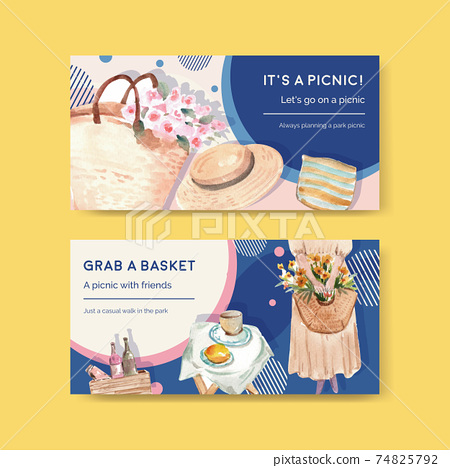 Twitter template with picnic travel concept design for social media and community watercolor illustration 74825792