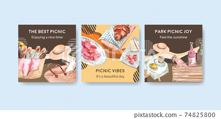 Advertise template with picnic travel concept for marketing watercolor illustration 74825800