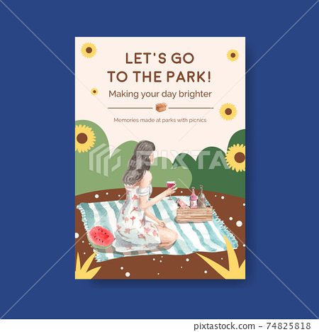Poster template with picnic travel concept for advertise watercolor illustration 74825818
