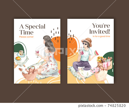 Postcard template with picnic travel concept design for greeting and invitation watercolor illustration 74825820