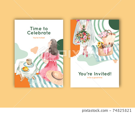 Postcard template with picnic travel concept design for greeting and invitation watercolor illustration 74825821