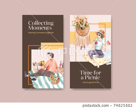 Instagram template with picnic travel concept design for social media watercolor illustration 74825882
