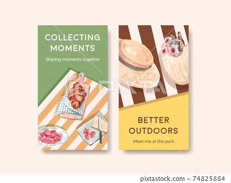 Instagram template with picnic travel concept design for social media watercolor illustration 74825884