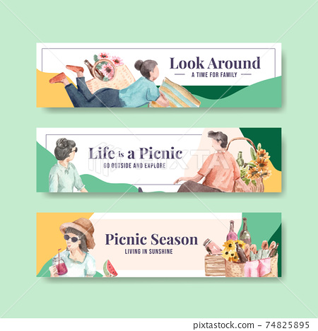Banner template with picnic travel concept for advertise and marketing watercolor illustration 74825895