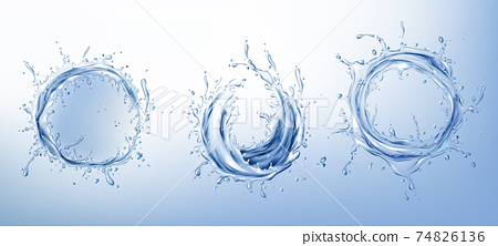 Clear water circle splashes realistic vector set 74826136