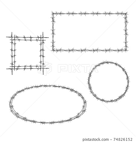 Barbed wire various frame realistic vector set 74826152
