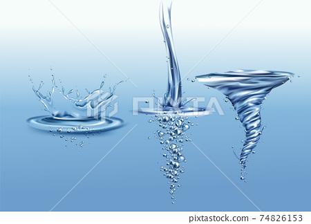 Frozen motion water splashes realistic vector set 74826153