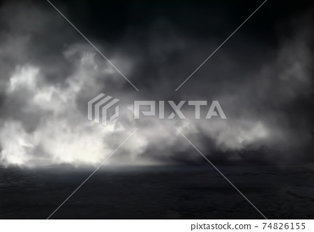 Thick night fog on river realistic vector 74826155