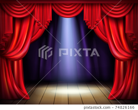 Stage with opened red curtains realistic vector 74826166