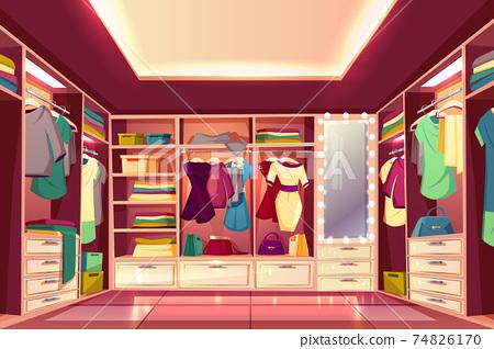 Womans walk-in closet interior cartoon vector 74826170