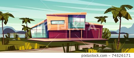 Luxury villa on tropical coast cartoon vector 74826171