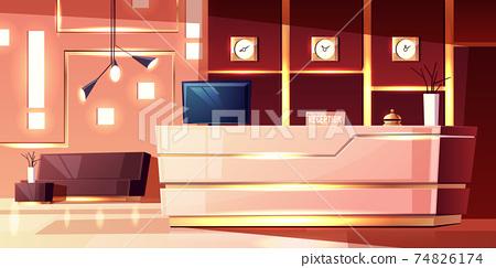 Vector cartoon hotel reception. Lobby of inn. 74826174