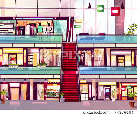 Mall shop with escalator vector illustration 74826184