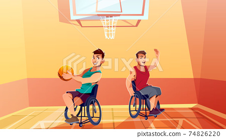 Sportsman on wheelchair playing basketball vector 74826220