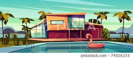 Luxury villa with swimming pool cartoon vector 74826233