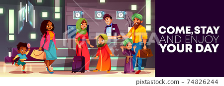 Vector cartoon hotel reception with Arab family 74826244