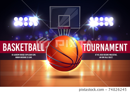 Vector cartoon ad poster, banner with basketball tournament 74826245