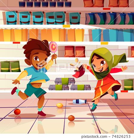 Indian kids playing in supermarket cartoon vector 74826253