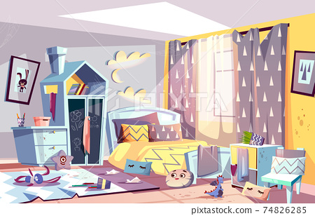 Kids bedroom in mess cartoon vector illustration 74826285