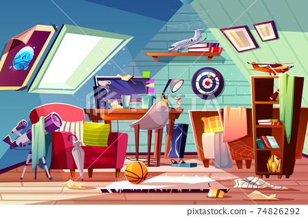 Teen boy messy attic room interior cartoon vector 74826292
